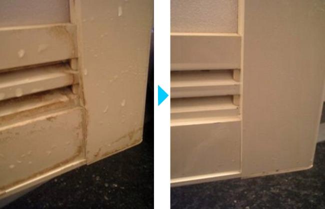 扉の水垢、クリーニング前後の違い