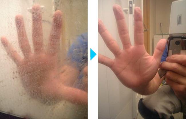 鏡のウロコ、クリーニング前後の違い