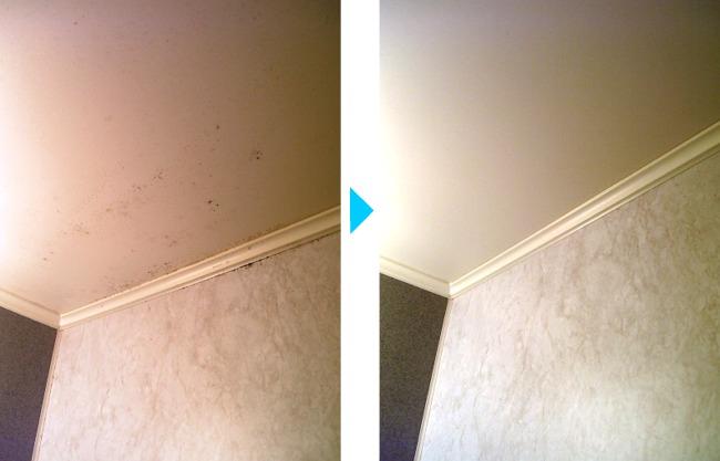 天井のカビ、クリーニング前後の違い
